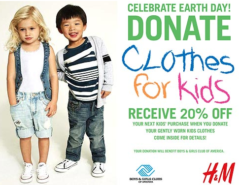 Donate clothes to h m for earth day stylish life for moms for Shirts that donate to charity