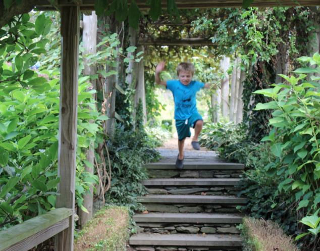 Alex Jumping the Steps at Green Animals Topiary Garden