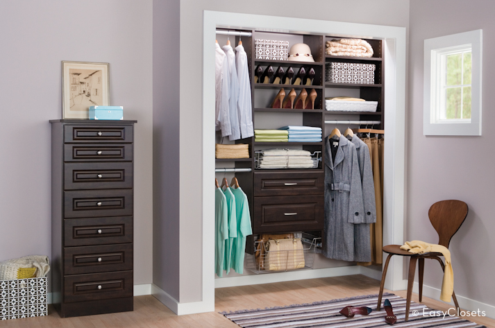 Custom closet organization kits. Design and install in one afternoon.