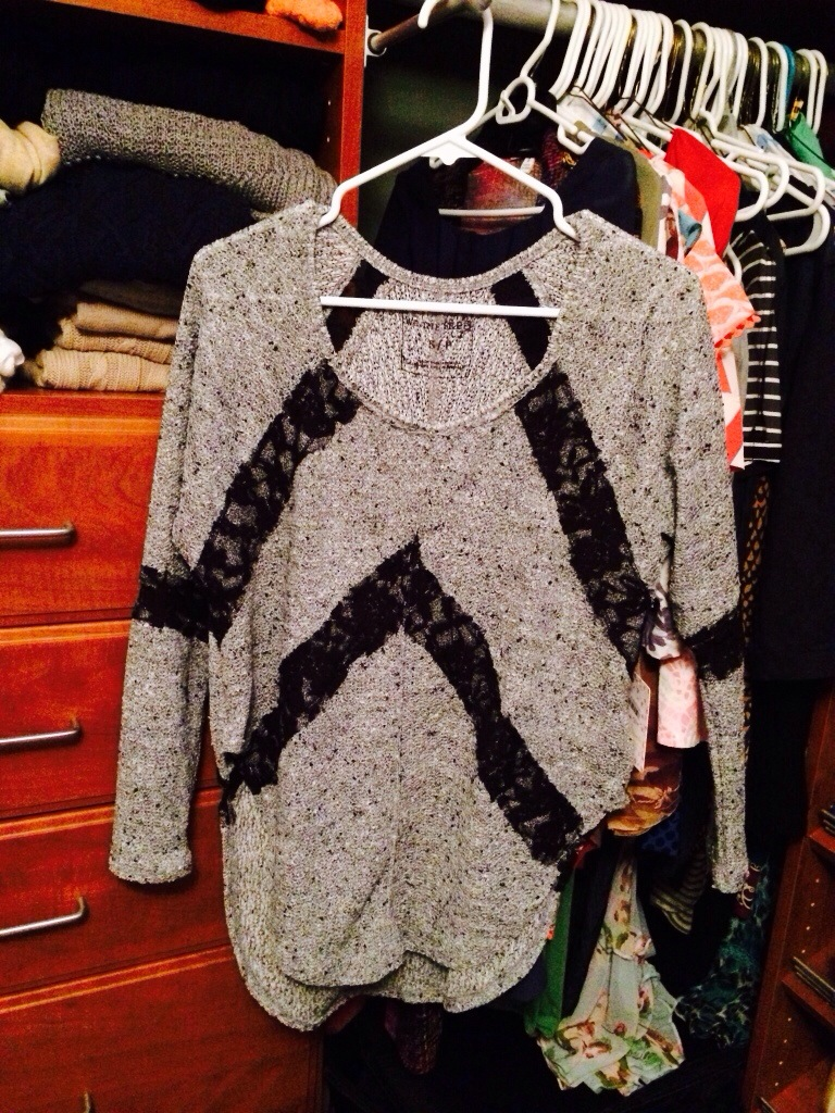 Sunday Fashion - Free People gray and black sweater with black lace accents