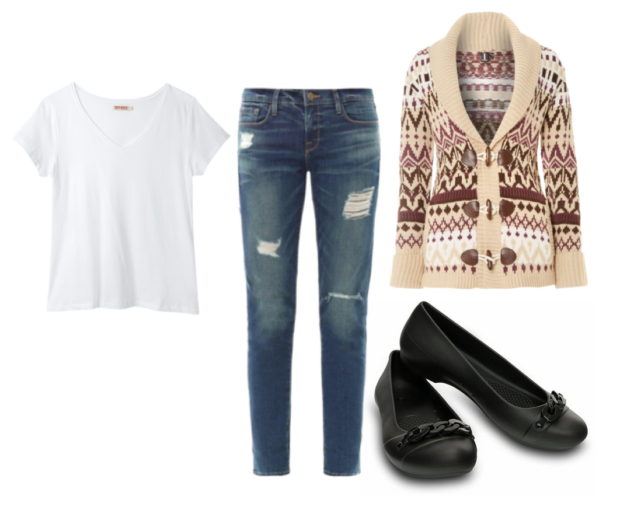 round up of a white t-shirt, ripped blue skinny jeans, brown patterned sweater and Crocs Gianna Link Flats