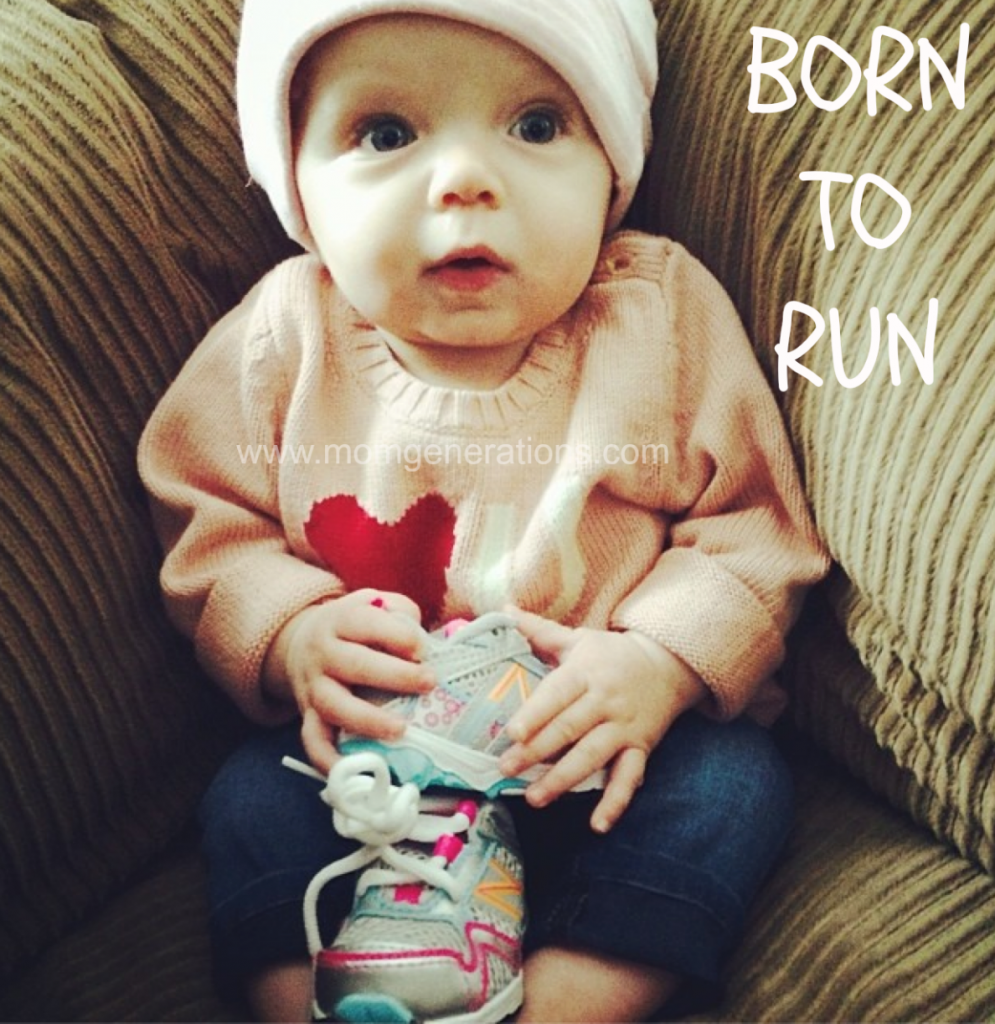 Baby with New Balance Sneakers - Born to Run