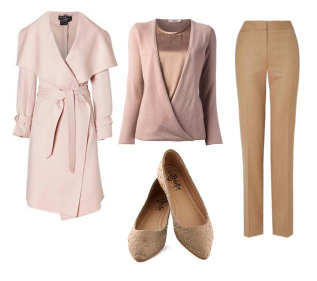 Olivia Pope Style roundup - pink long jacket, pink x-cross cardigan, tan slacks and tan embellished flats