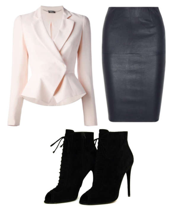 light pink fitted cross jacket, black knee length fitted leather skirt, black laced 4 inch heeled boots