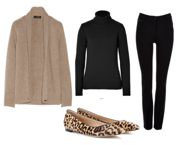 brown woman's sweater, black turtle kneck, black fitted skinny jeans, leopard flats