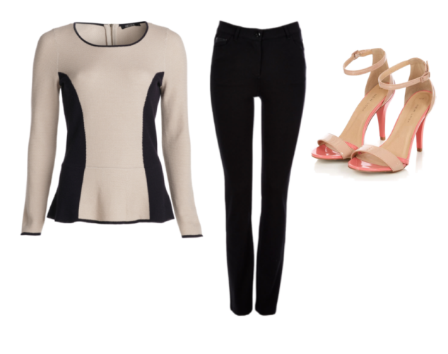 tan and black 50s style sweater, black skinny jeans, peach and tan peep-toed trapped heels