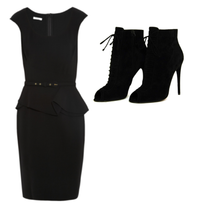black, belted pencil dress with lace up black heeled boots