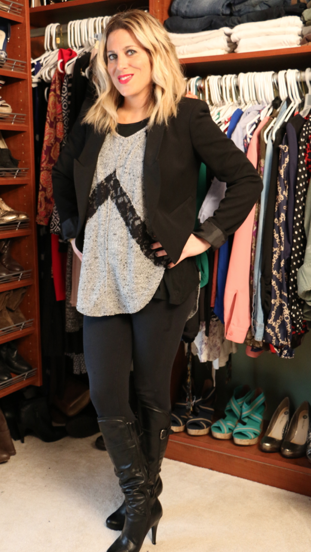 audrey - blonde woman in gray sweater with black lace accents, black leggings and black blazer
