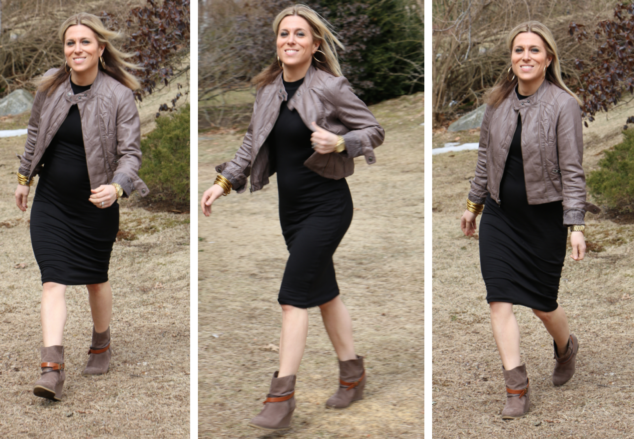 3 different shots of a blonde woman in a black dress, brown boots with red accents and a brown leather cropped jacket