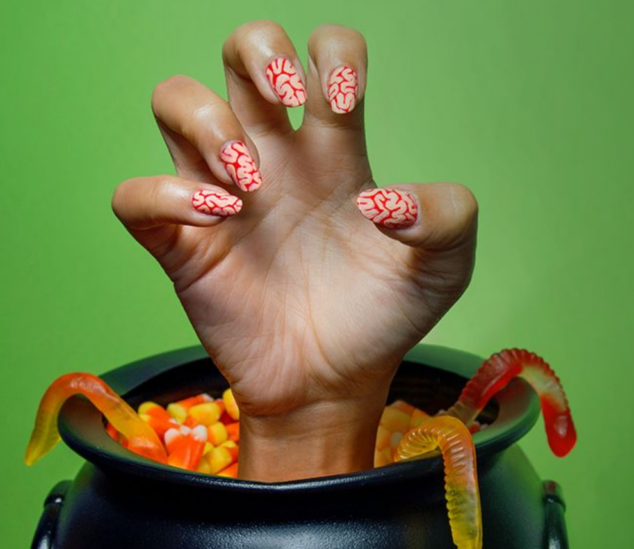 Zombie Manicure - Halloween Mani How-To's With Q-tips: Pop Art, Zombie Nails, Bloody