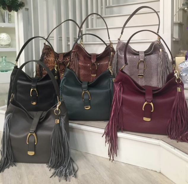 Leather Stirrup Hobo Bag with Fringe