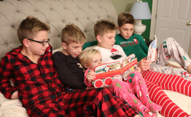 five kids in carters christmas pajamas