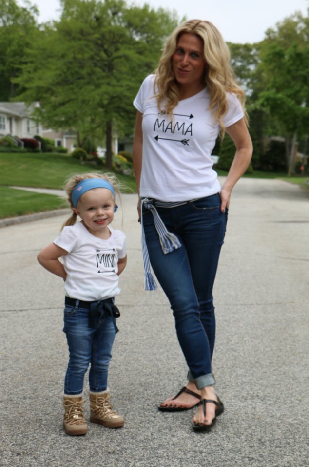mom and daughter wearing mommy and me shirts