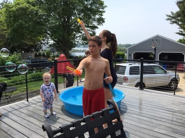 ~ The great delight of grandkids, a kiddie pool and bubbles! ~
