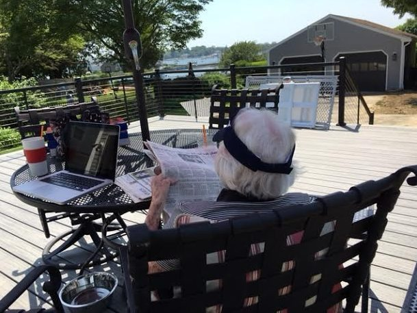 ~ My 91-year old Mom, relaxing on the deck with the newspaper and an iced coffee! ~