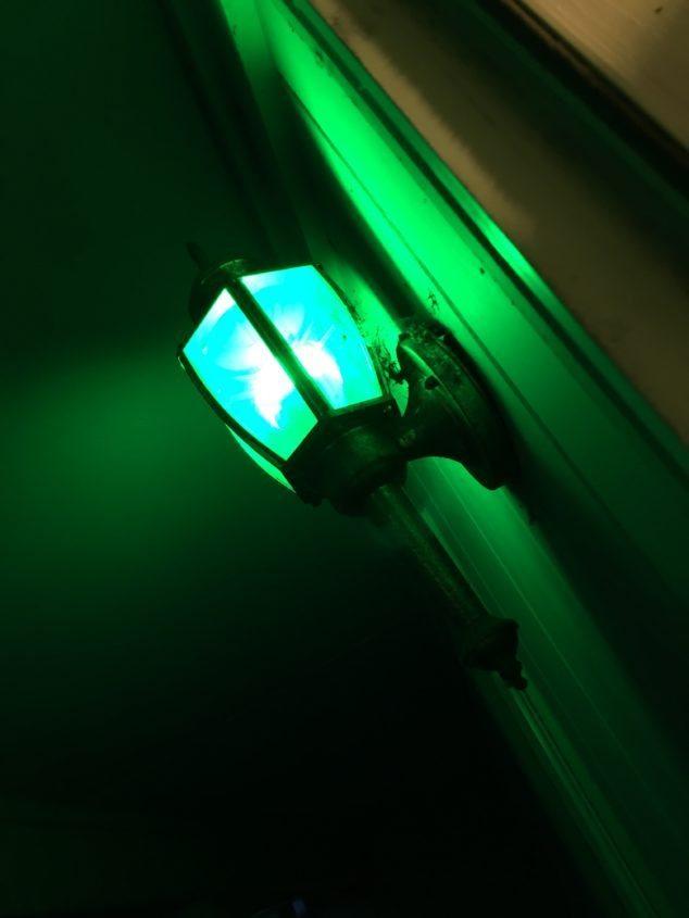 Green light outside house
