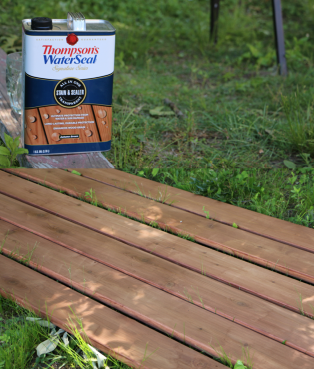 Love this shade of stain! Thompson's WaterSeal Signature Series Stain & Seal - Autumn Brown (Exclusively sold at Lowe's)