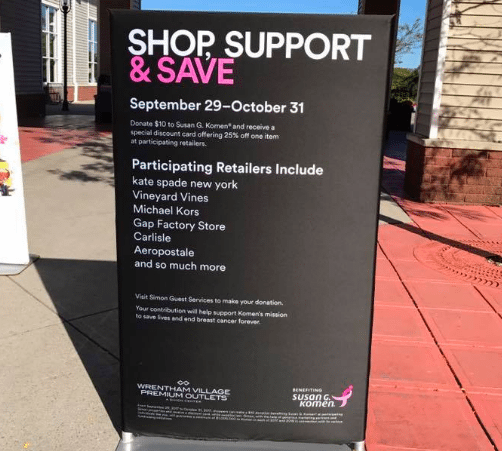 Simon Premium Outlets partnered with Susan G. Komen to help fight breast cancer.