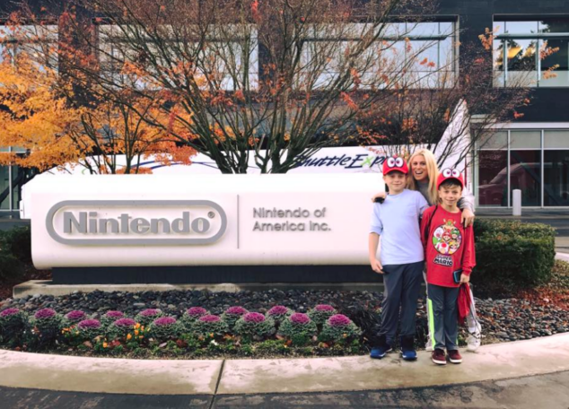 My boys and I about to enter Nintendo Headquarters!