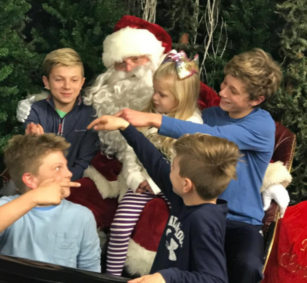 All the kids narced on Ben at their Santa visit.
