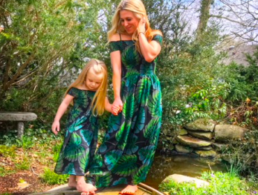 Mom and Daughter in Matching Dresses