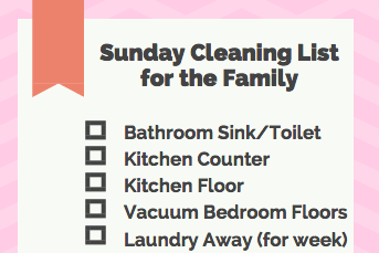 Sunday Family Cleaning List