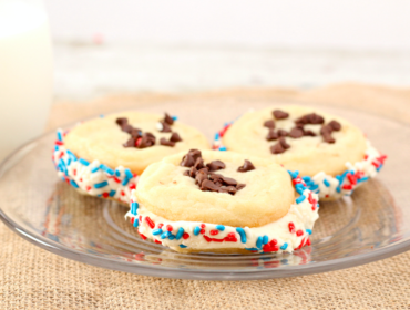 Patriotic Chocolate Chip Sugar Cookie Sandwiches