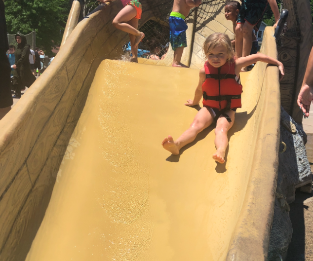 Olivia loved the water slide at the Lake Compounce water park.