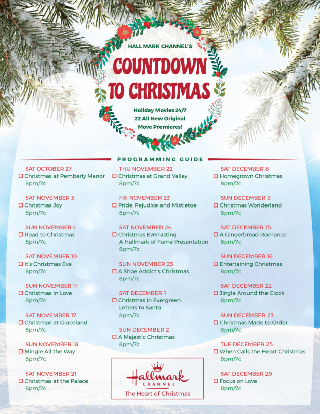 Full List of Hallmark Channel Countdown to Christmas Holiday Movies