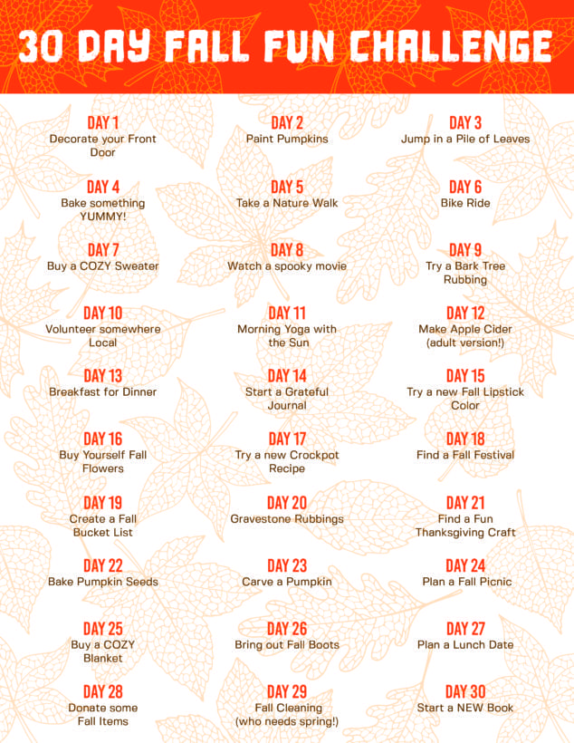 30 Day Challenge: 30 Day Fall Activity Challenge