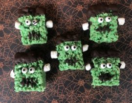 Frankenstein Rice Krispie Treats - Halloween Treats #Halloween #HalloweenTreats