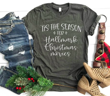 Tis the Season for Hallmark Christmas Movies | Cute Winter Christmas Shirt | Shirts for Moms | Bella Tee | Soft TShirt | Women's Graphic Tee