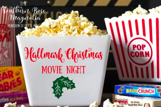 Personalized Popcorn Tub, Hallmark Christmas, Movie Night, Family gifts, popcorn theme party, Gift basket, party favors, Popcorn Bins from TheSouthRoseMagnolia