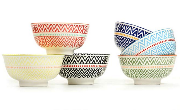 "Porcelain Large Serving Bowls for Cereal, Pasta,Soup, Fruit, Ramen, Set of 6 Assorted Colors,FDA Approved (5.6"" Bowls)"
