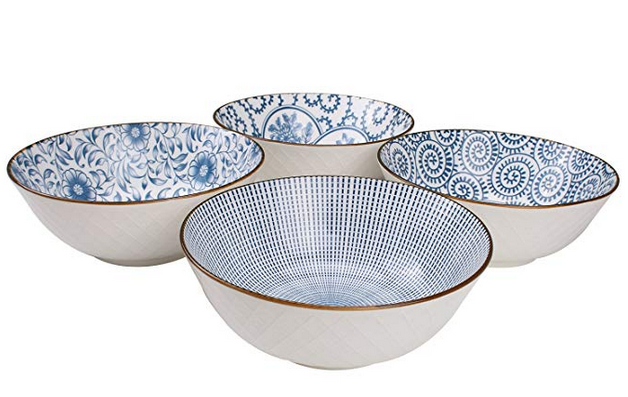 40-Ounce Large Blue and White Porcelain Soup,Salad,Pasta Serving, Pho Bowls, Assorted Floral Patterns, Stackable Deep Bowl Set of 4
