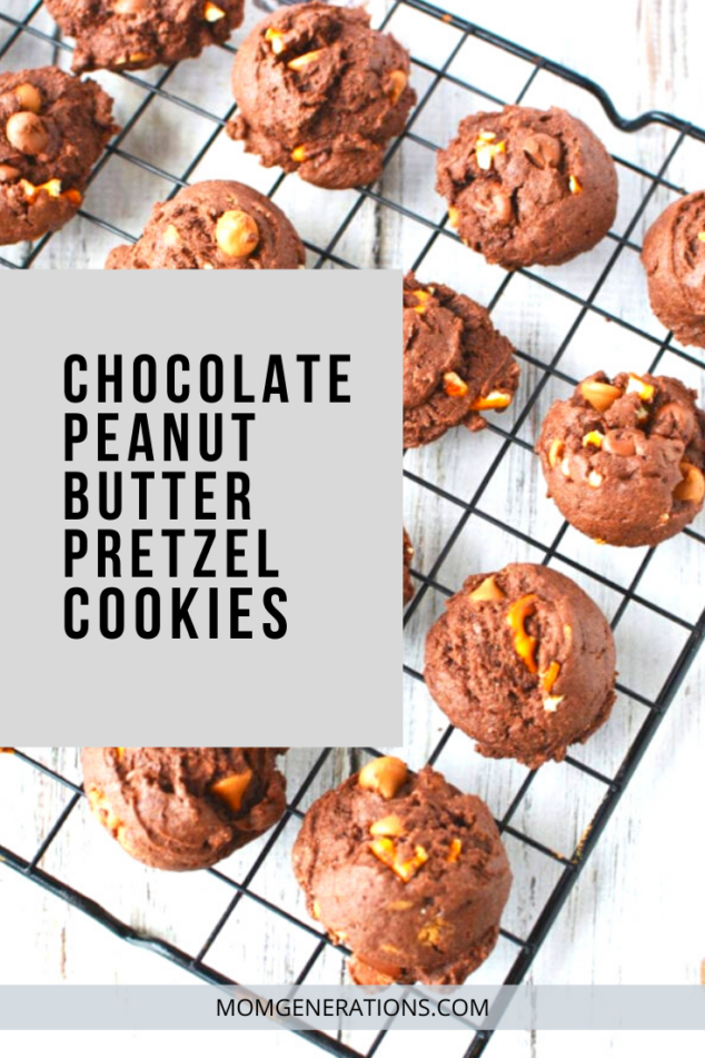 Chocolate Peanut Butter Pretzel Cookies