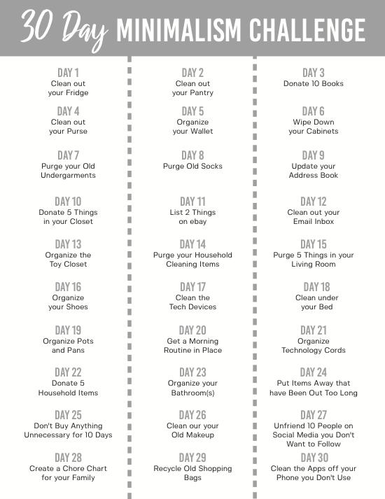 30 Day Minimalism Challenge - Mom Generations | Audrey ...