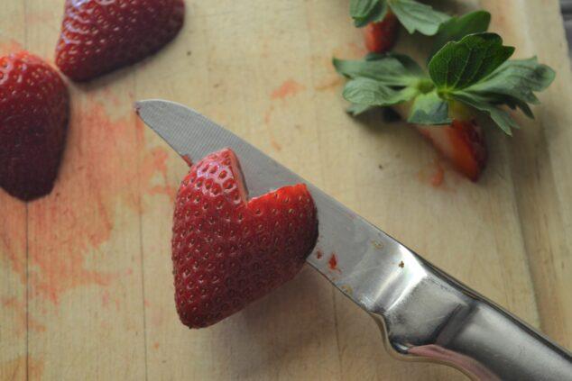 Gluten Free Strawberry Shortcake - Cutting Strawberries