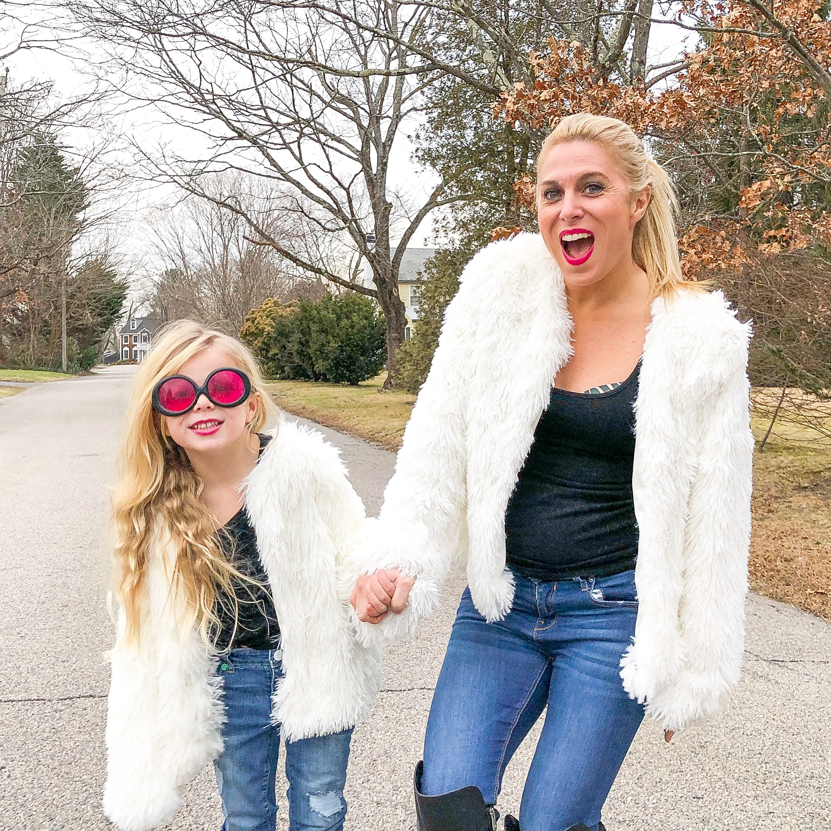 7c3a4734e4be4 Mommy and Me Outfits  Twinning Faux Fur Jackets - Mom Generations ...