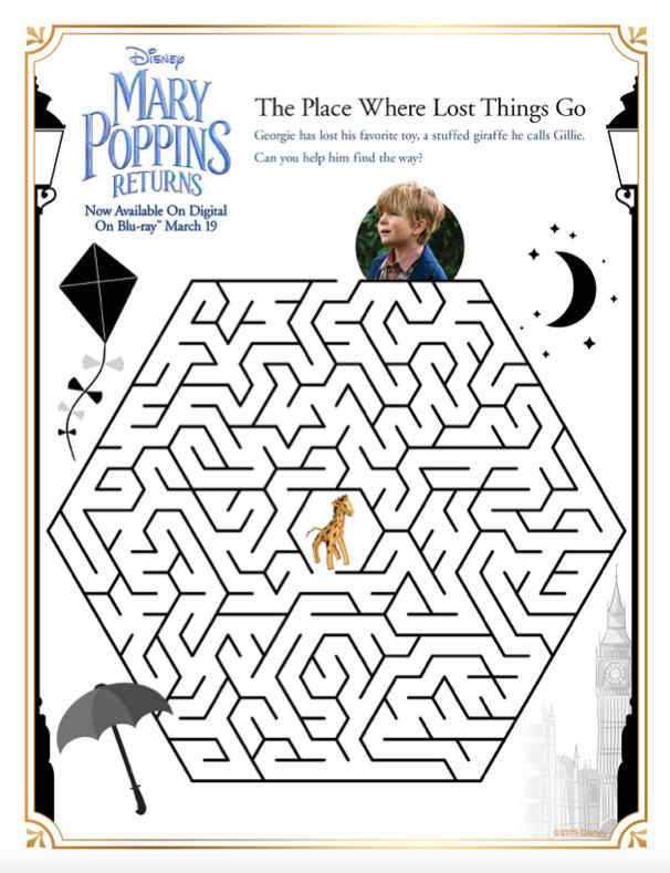 Mary Poppins Movie Activity Sheets