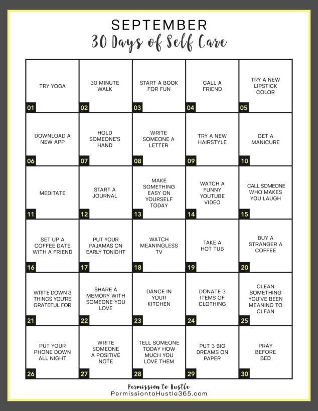 September Self Care - 30 Days