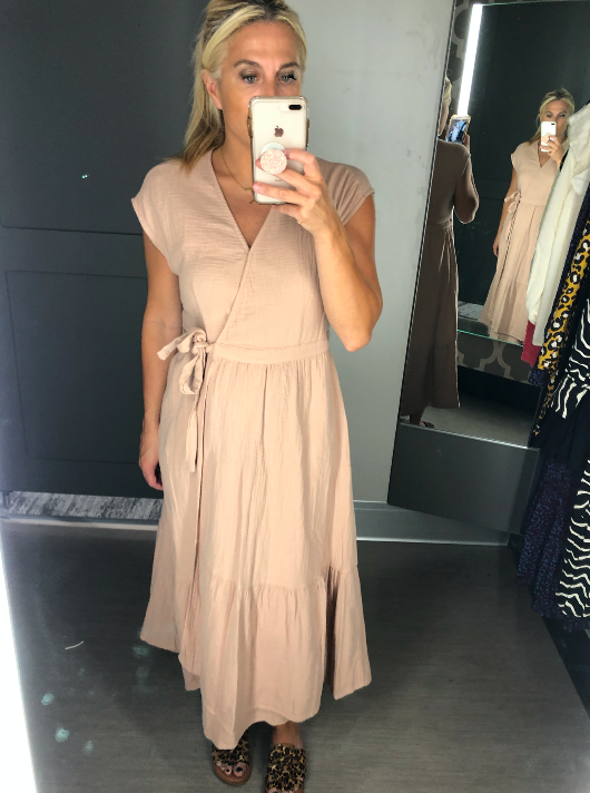 Nude Wrap Dress for Fall