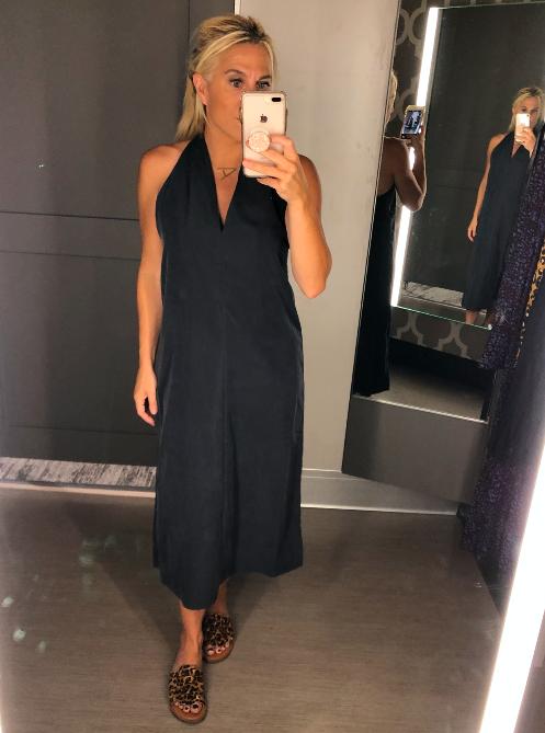 Black Dress with Back V-Neck