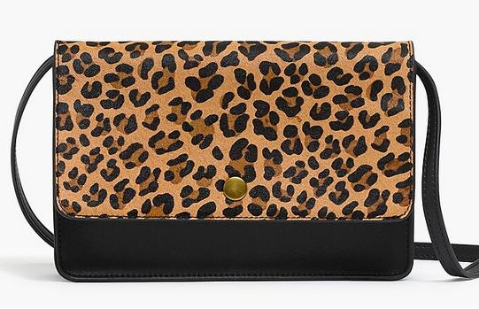 J.Crew Calf hair leopard crossbody bag