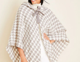 Houndstooth Shawl Collar Poncho