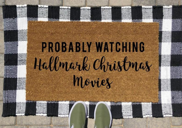 Probably Watching Hallmark Christmas Movies Doormat | Hallmark Movies Doormat