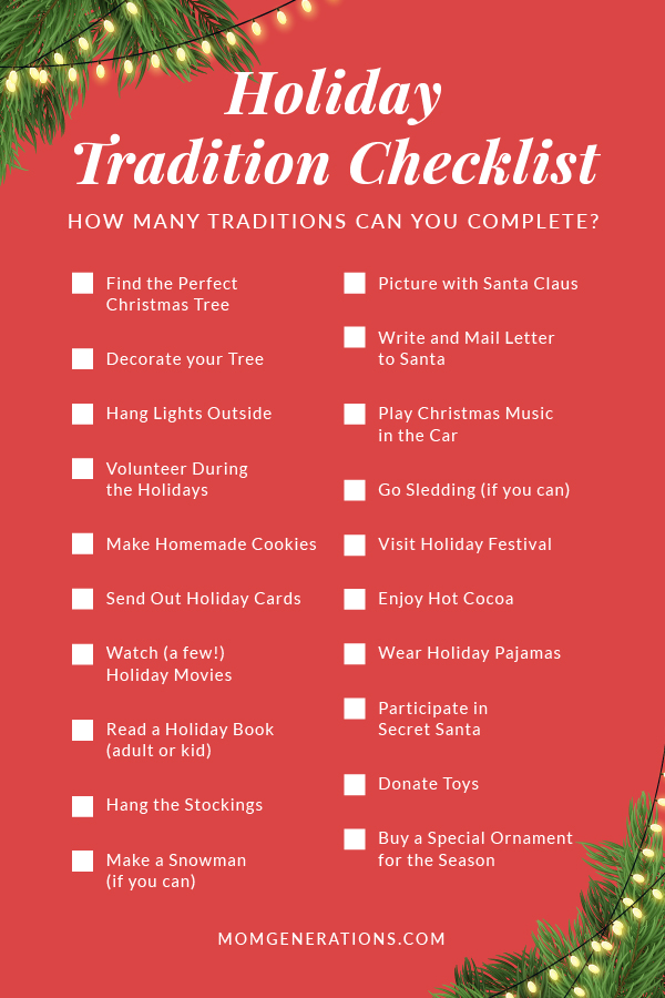 Holiday Tradition Checklist for the Holidays