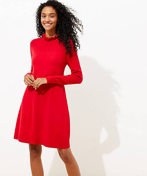 Ruffle Pointelle Sweater Dress