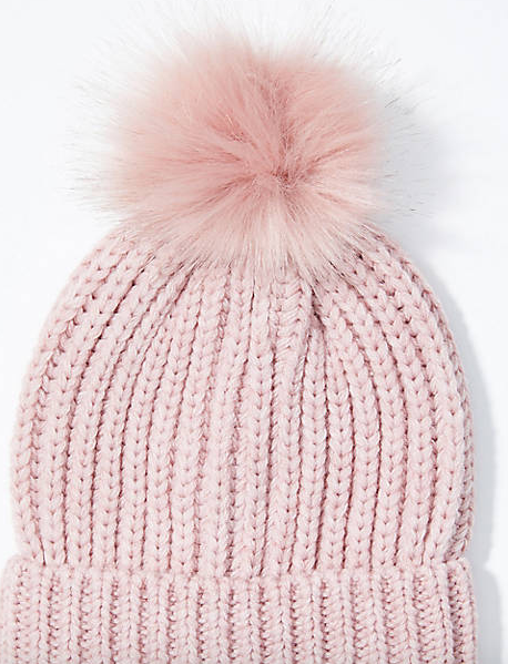 Ribbed Faux Fur Pom Pom Hat