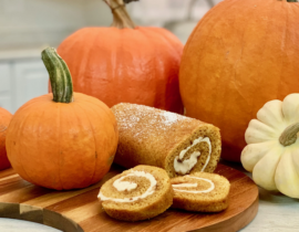 Pumpkin Roll with Apple Butter Filling Here's an easy recipe to take a traditional pumpkin roll up a notch with an extra level of apple flavor.